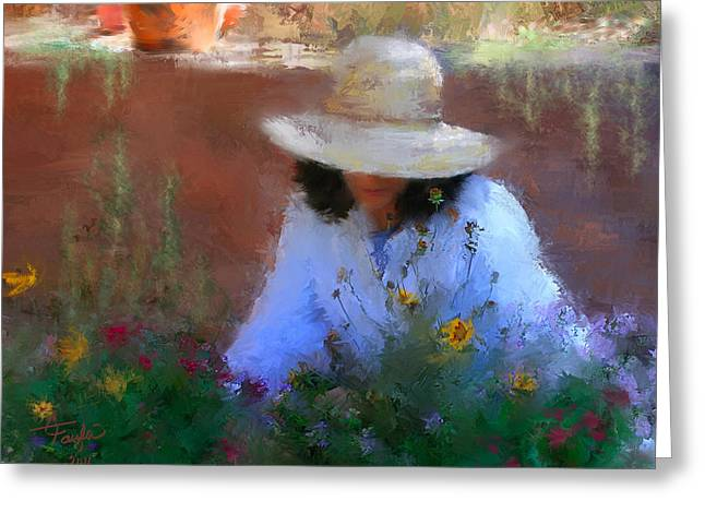 Woman In Hat Greeting Cards - The Light of the Garden Greeting Card by Colleen Taylor