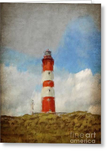Lighthouse Greeting Cards - The Lighthouse Amrum Greeting Card by Angela Doelling AD DESIGN Photo and PhotoArt