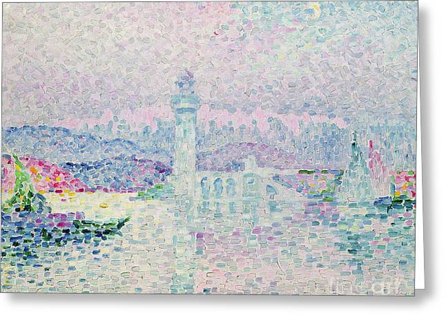 Boats At Dock Greeting Cards - The Lighthouse at Antibes Greeting Card by Paul Signac