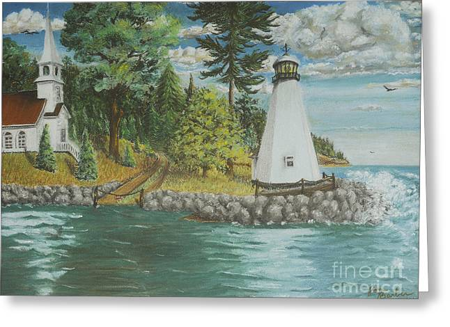 Dock Pastels Greeting Cards - The Lighthouse Greeting Card by Jim Barber Hove