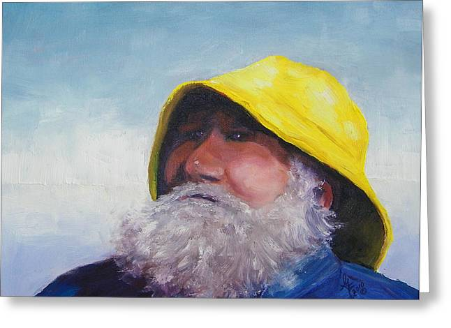 Old Man And The Sea Greeting Cards - The Lighthouse Keeper Greeting Card by Gale Cochran-Smith