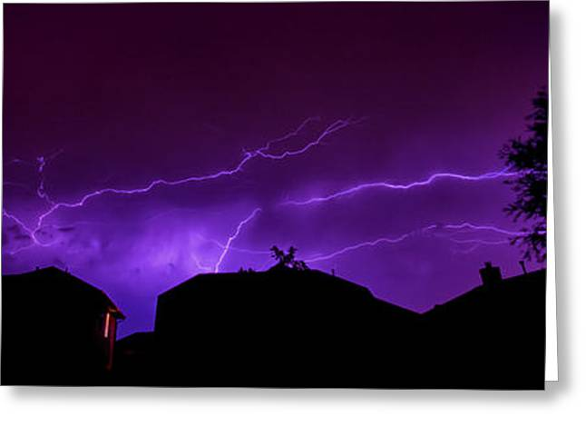The Lightning Over Avery Neighborhood Greeting Card by Lisa  Spencer