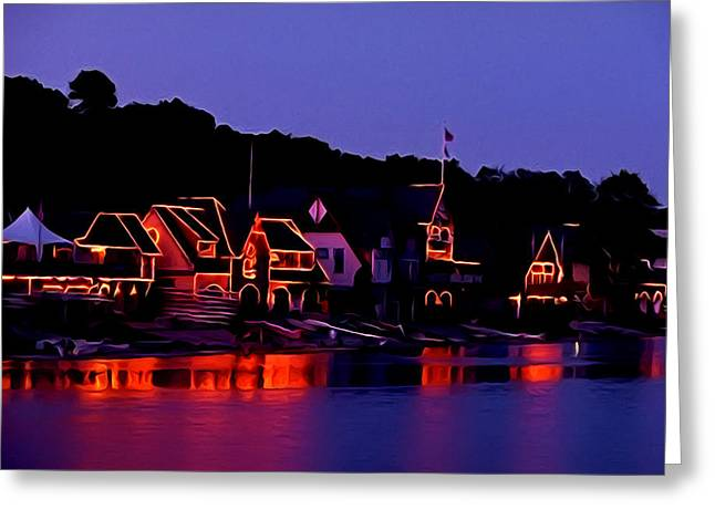Rowing Crew Greeting Cards - The Lights of Boathouse Row Greeting Card by Bill Cannon