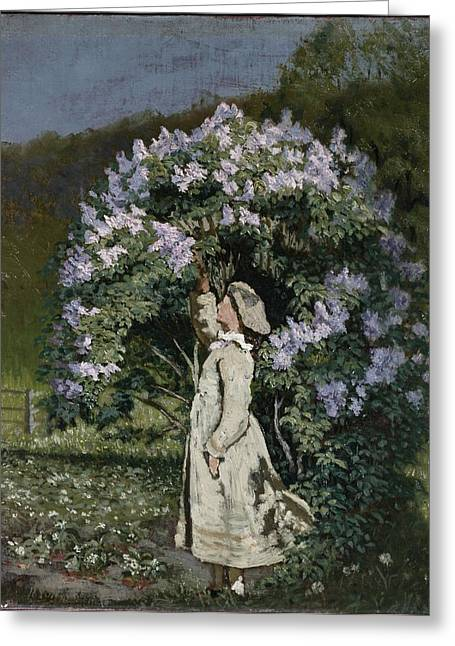 1835 Greeting Cards - The Lilac Bush Greeting Card by Olaf Isaachsen