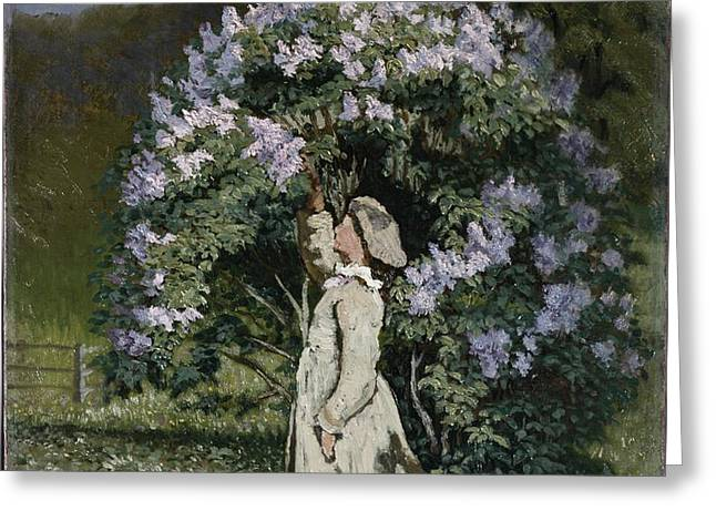The Lilac Bush Greeting Card by Olaf Isaachsen
