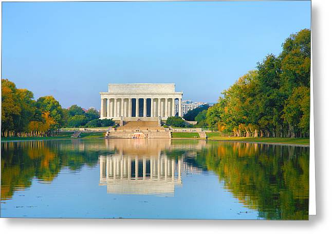 Pond Framed Prints Greeting Cards - The Lincoln Memorial I   Greeting Card by Steven Ainsworth