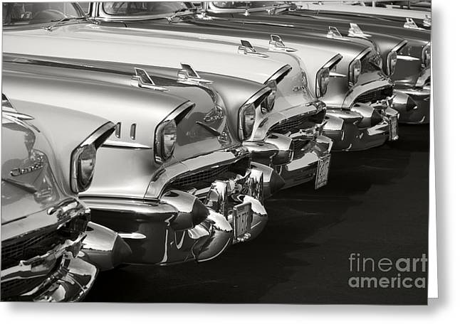 Chrome Emblem Greeting Cards - The Lineup Greeting Card by Dennis Hedberg