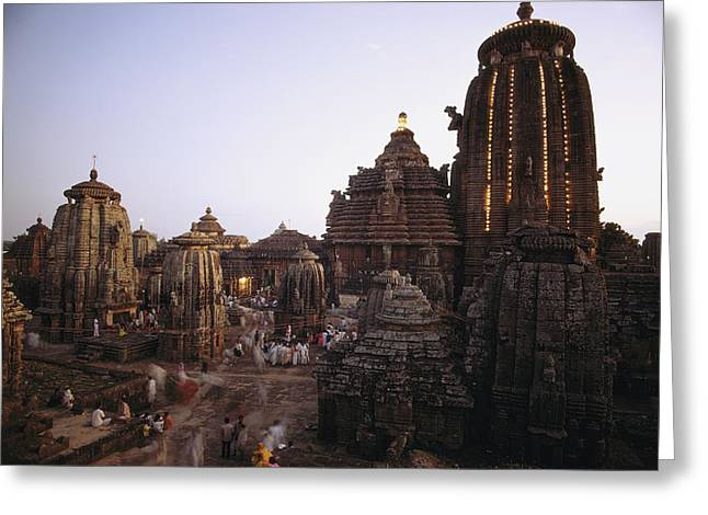 Sculptures Of Deities Greeting Cards - The Lingaraja Temple In Bhubaneshwar Greeting Card by James P. Blair