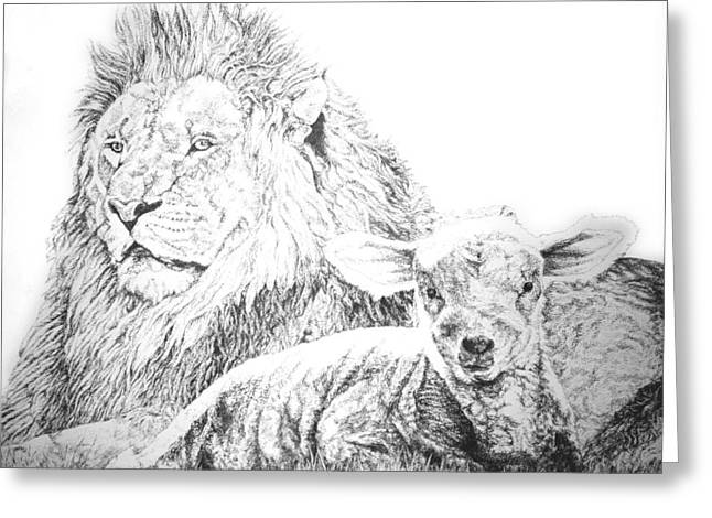 Lion Lamb Greeting Cards - The Lion and the Lamb Greeting Card by Bryan Bustard