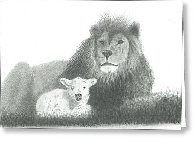 Lion And Lamb Greeting Cards - The Lion and the Lamb Greeting Card by EJ John Baldwin