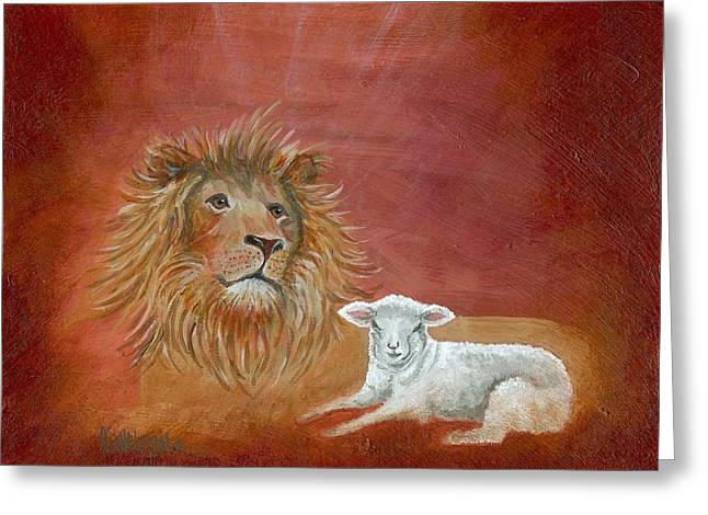 Lion Lamb Greeting Cards - The Lion and the Lamb Greeting Card by Rita Welegala