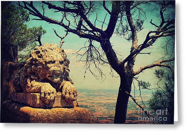 Figurine Mixed Media Greeting Cards - The Lion Greeting Card by Angela Doelling AD DESIGN Photo and PhotoArt