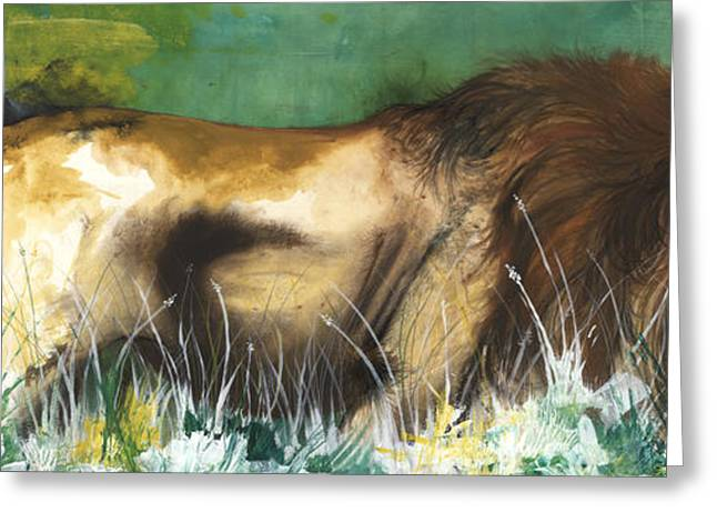 Lions Greeting Cards - The Lion Greeting Card by Anthony Burks Sr