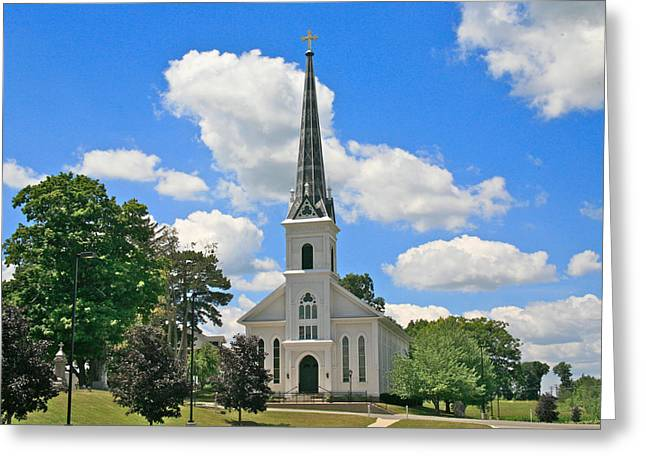 Steeple Mixed Media Greeting Cards - The little country church Greeting Card by Robert Pearson