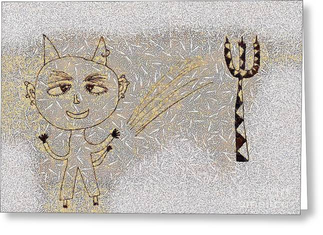 Gold Lame Greeting Cards - The little devil Greeting Card by Odon Czintos