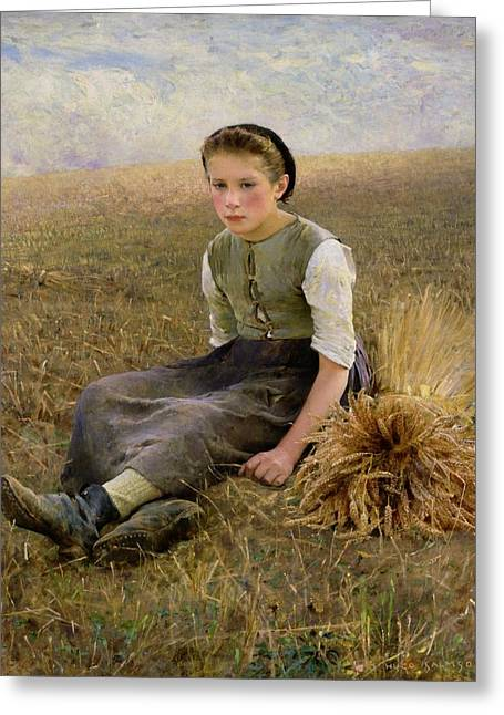 Crops Paintings Greeting Cards - The Little Gleaner Greeting Card by Hugo Salmon