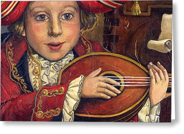 Lute Paintings Greeting Cards - The little Mozart.Detail. Greeting Card by Victoria Francisco