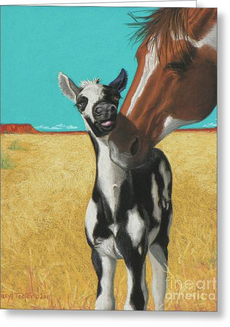 White Horse Pastels Greeting Cards - The Little Mustang Greeting Card by Tracy L Teeter