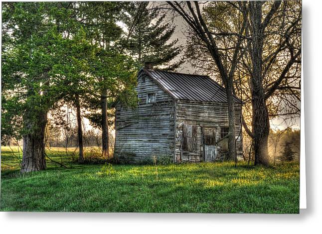 Little Cabin Greeting Cards - The Little Old Log Cabin Greeting Card by William Fields