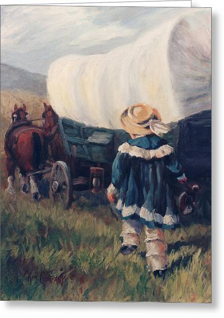 Conestoga Paintings Greeting Cards - The Little Pioneer Western Art Greeting Card by Kim Corpany