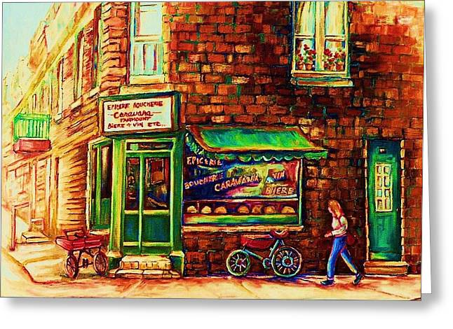 Montreal Pizza Places Greeting Cards - The Little Red Wagon Greeting Card by Carole Spandau