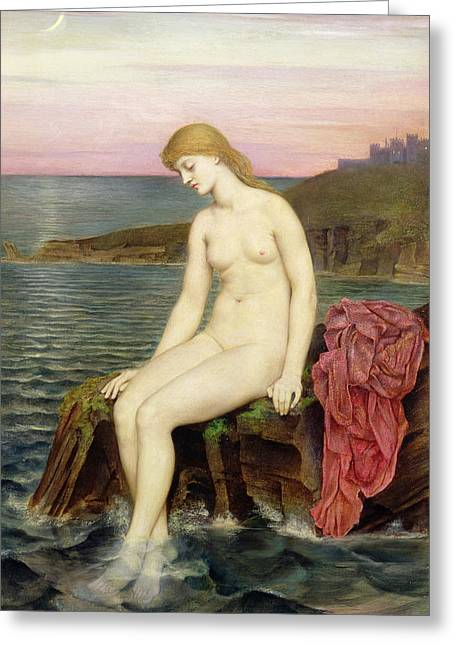 Moon Set Greeting Cards - The Little Sea Maid  Greeting Card by Evelyn De Morgan