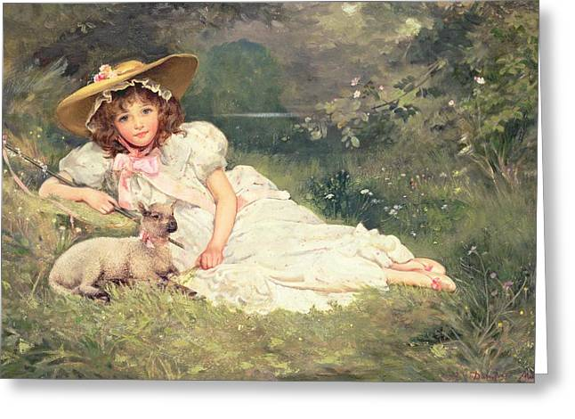 May Greeting Cards - The Little Shepherdess Greeting Card by Arthur Dampier May