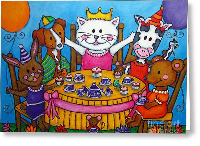 The Little Tea Party Greeting Card by Lisa  Lorenz