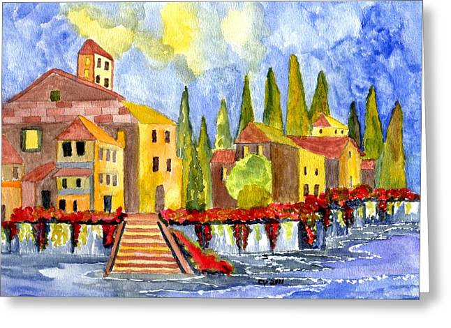 Buildings By The Ocean Greeting Cards - The little Village Greeting Card by Connie Valasco