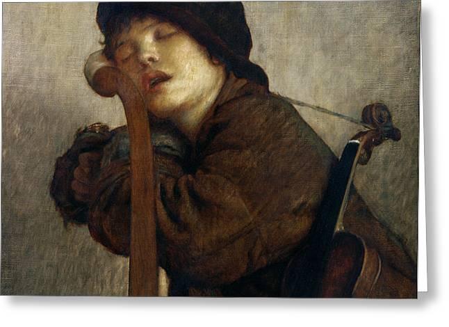 The Little Violinist Sleeping Greeting Card by Antoine Auguste Ernest Hebert