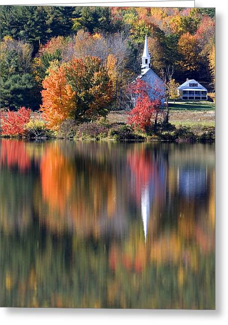 Northeastern United States Greeting Cards - The Little White Church in Autumn Greeting Card by Larry Landolfi