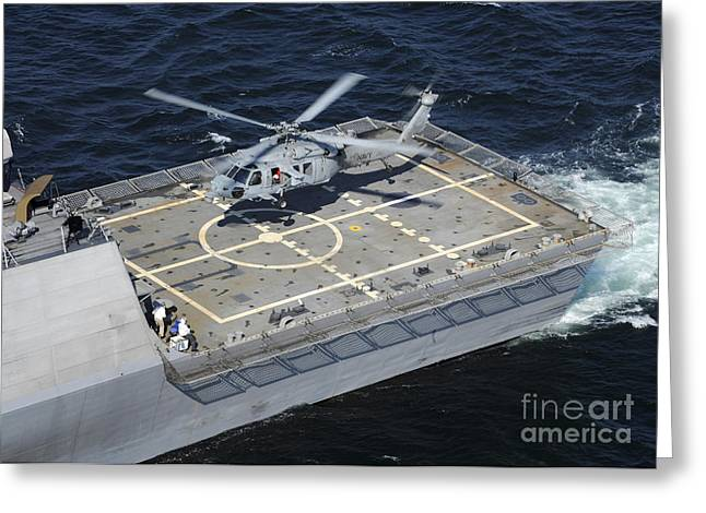 Helipad Greeting Cards - The Littoral Combat Ship Uss Freedom Greeting Card by Stocktrek Images