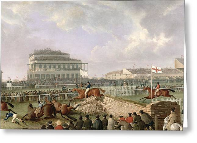 1843 Greeting Cards - The Liverpool and National Steeplechase at Aintree Greeting Card by William Tasker
