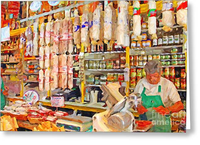 Italian Wine Digital Greeting Cards - The Local Deli Greeting Card by Wingsdomain Art and Photography