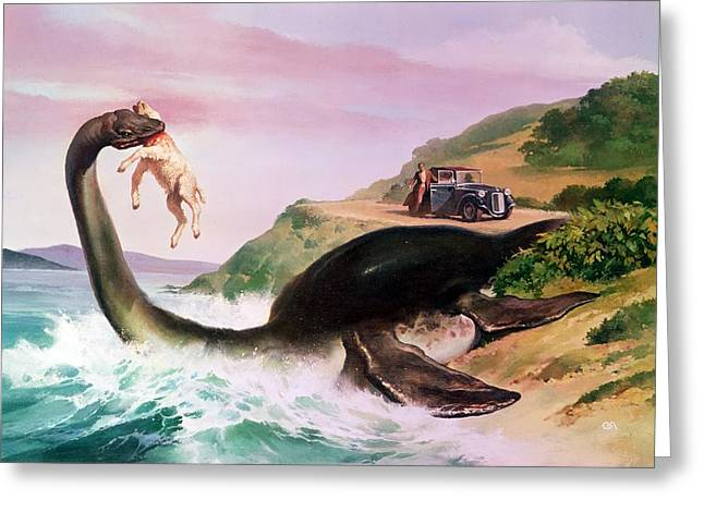 Marine Life Greeting Cards - The Loch Ness Monster Greeting Card by Gino DAchille