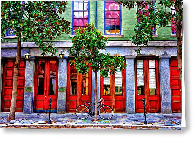 French Doors Greeting Cards - The Locked Bicycle - New Orleans Greeting Card by Bill Cannon