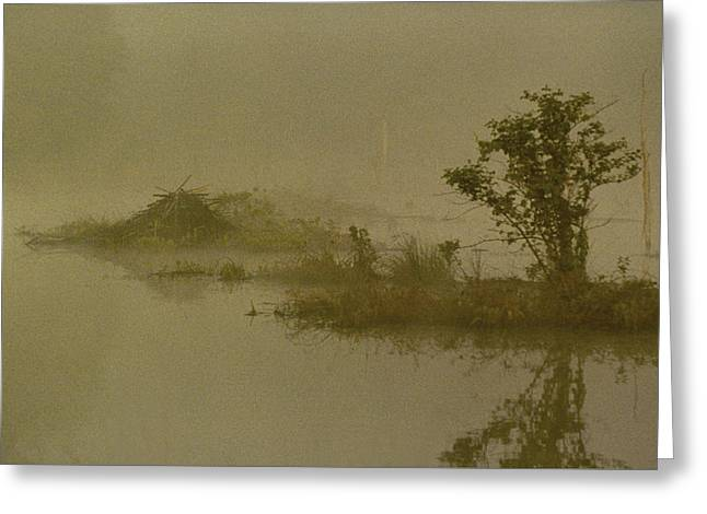 The Lodge In The Mist Greeting Card by Skip Willits