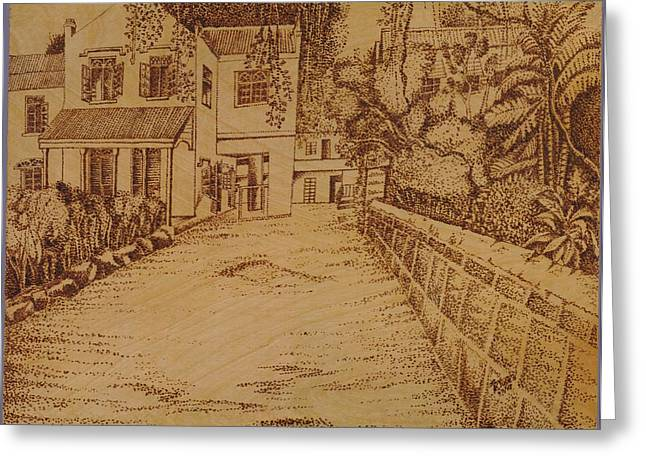 Black Lodge Pyrography Greeting Cards - The Lodge School Greeting Card by Richard Jules