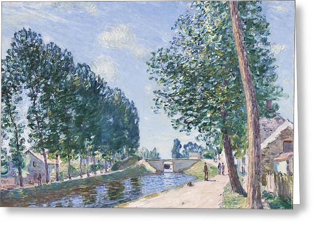 Tree Lines Paintings Greeting Cards - The Loing Canal at Moiret Greeting Card by Alfred Sisley