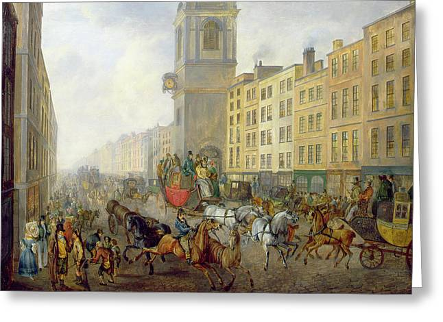 Cart Horse Greeting Cards - The London Bridge Coach at Cheapside Greeting Card by William de Long Turner