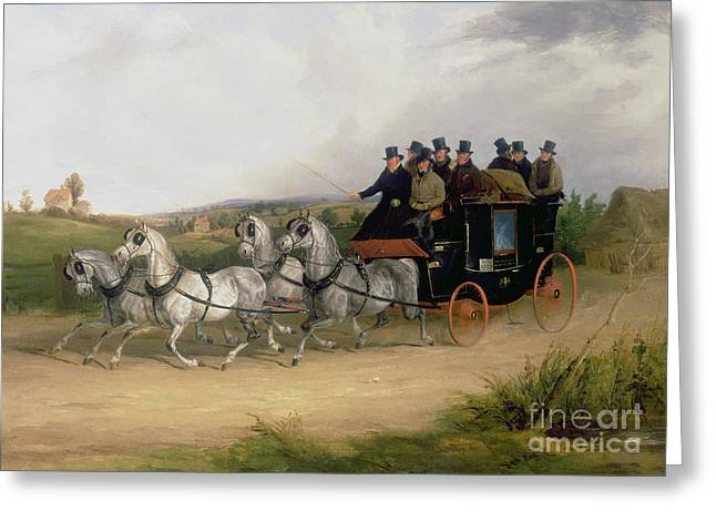 Puddle Paintings Greeting Cards - The London to Brighton Stage Coach Greeting Card by William Joseph Shayer