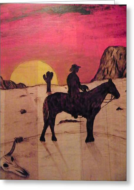 Woodburn Pyrography Greeting Cards - The Lone Cowboy Greeting Card by Andrew Siecienski