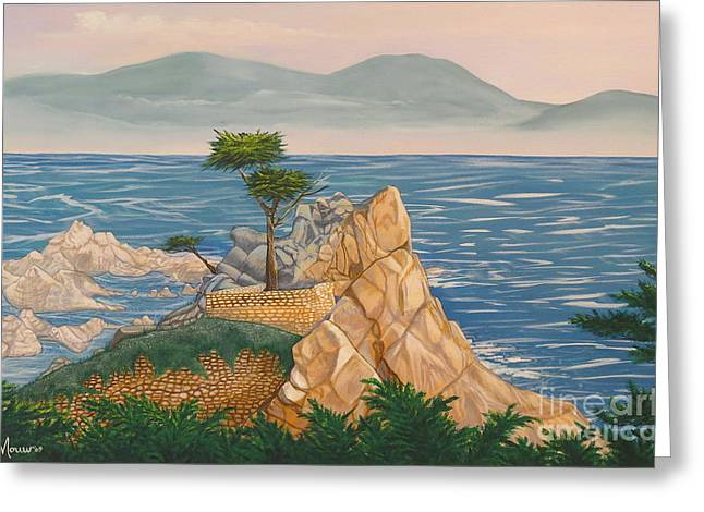The Lone Cypress Greeting Cards - The Lone Cypress Tree Greeting Card by Aimee Mouw