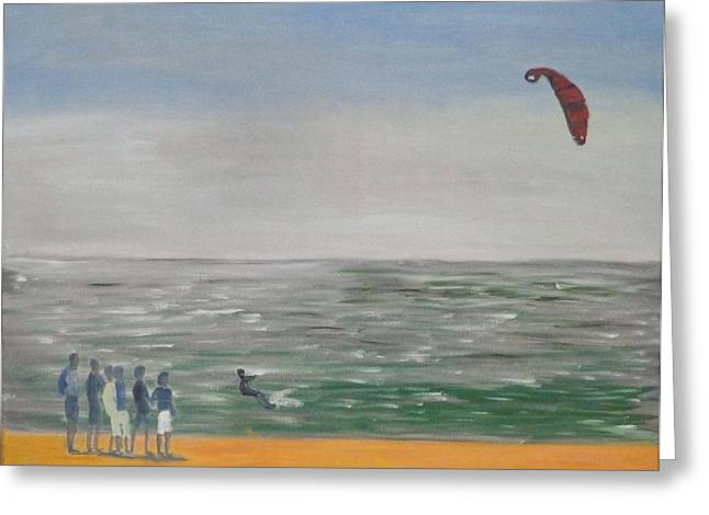 Kite Surfing Greeting Cards - The Lone Kiter Tarifa 2012 Greeting Card by Bill White