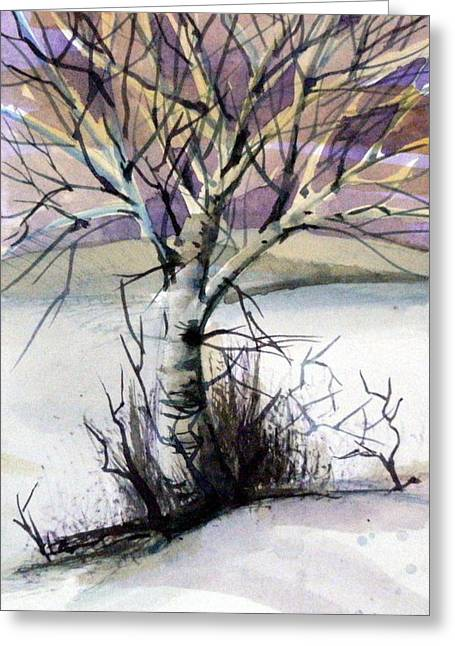 Birch Tree Drawings Greeting Cards - The Lone Tree Greeting Card by Mindy Newman
