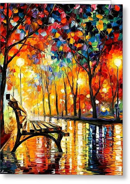 Leonid Afremov Greeting Cards - The Loneliness Of Autumn Greeting Card by Leonid Afremov