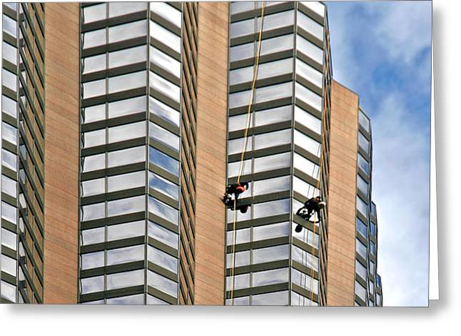 The Loneliness of the Skyscraper Window Cleaner Greeting Card by Christine Till