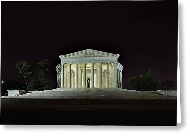 Alone Photographs Greeting Cards - The Lonely Tourist at Jefferson Memorial Greeting Card by Metro DC Photography