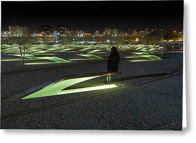 September Greeting Cards - The Lonely Tourist at Pentagon Memorial Greeting Card by Metro DC Photography