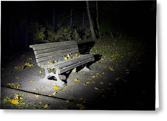 Lonesomeness Greeting Cards - The lonesome parkbench Greeting Card by Reiner Poser